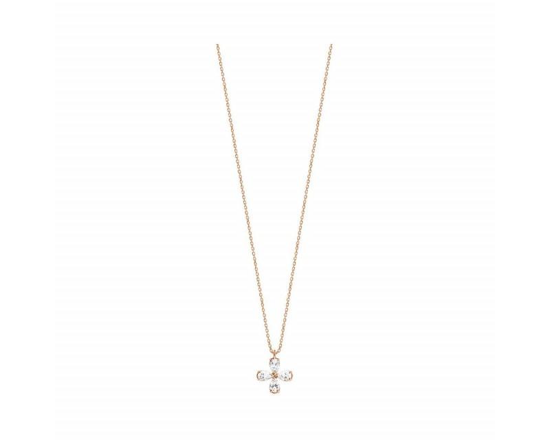 Pendentif or rose diamants