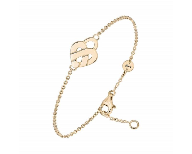 Bracelet 1 Coeur Entrelacé mini or jaune sur chaine