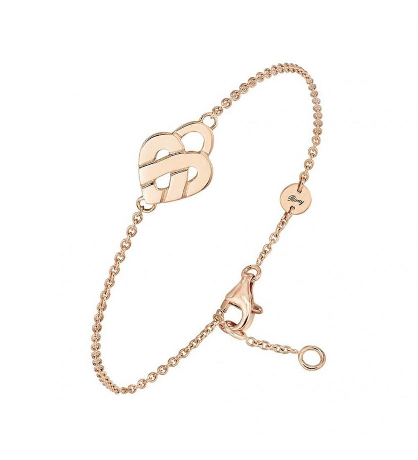Bracelet chaîne Coeur Entrelacé mini or rose