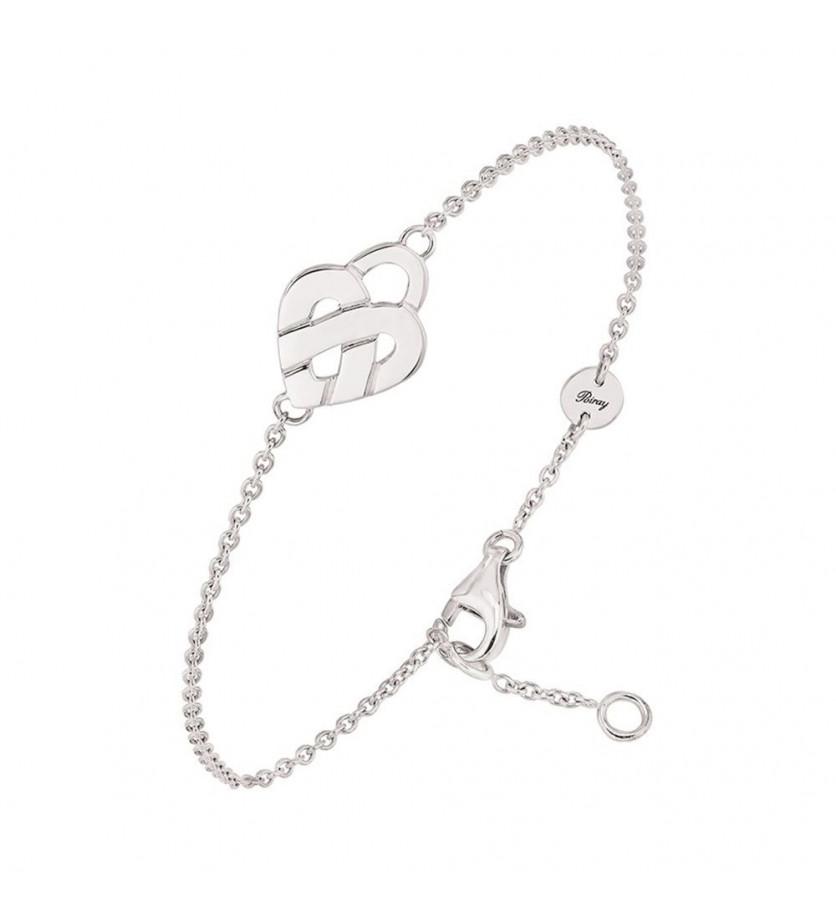 Bracelet Coeur Entrelacé mini or blanc