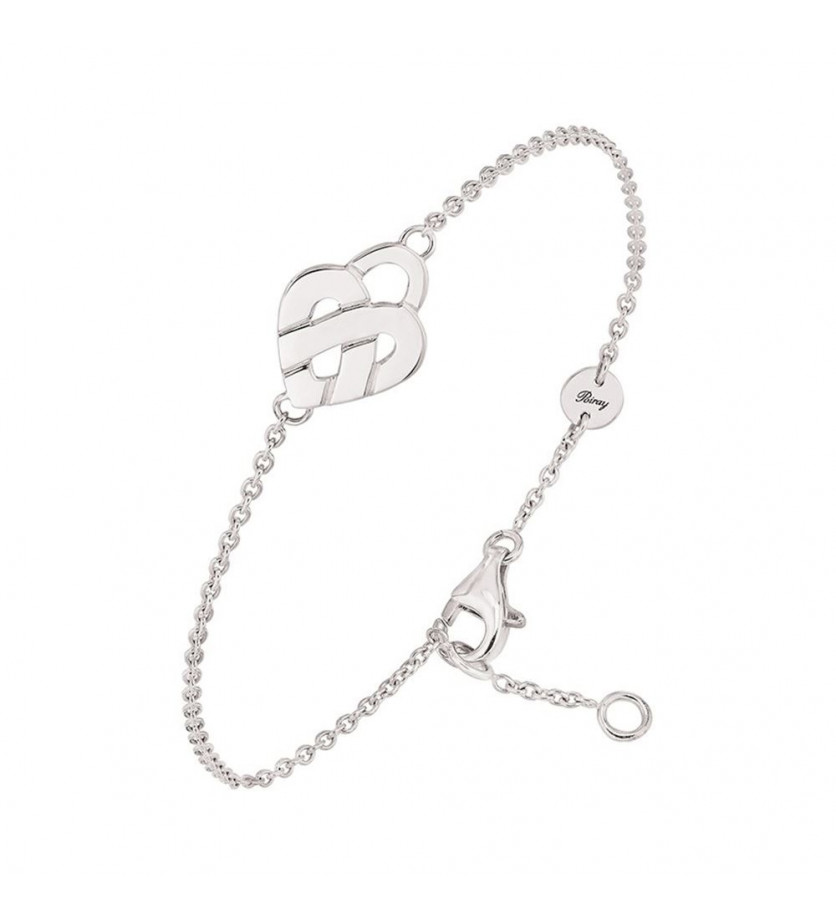 POIRAY Bracelet coeur entrelacé mini or blanc