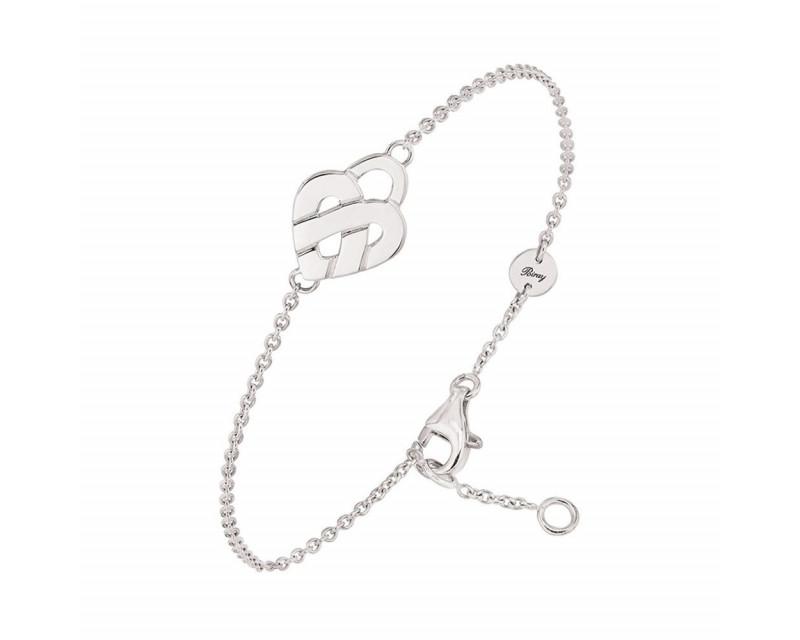 POIRAY Bracelet Cœur Entrelacé mini or blanc