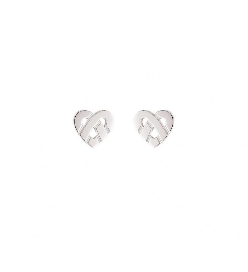 Boucles d'oreille Coeur entrelacé mini or blanc