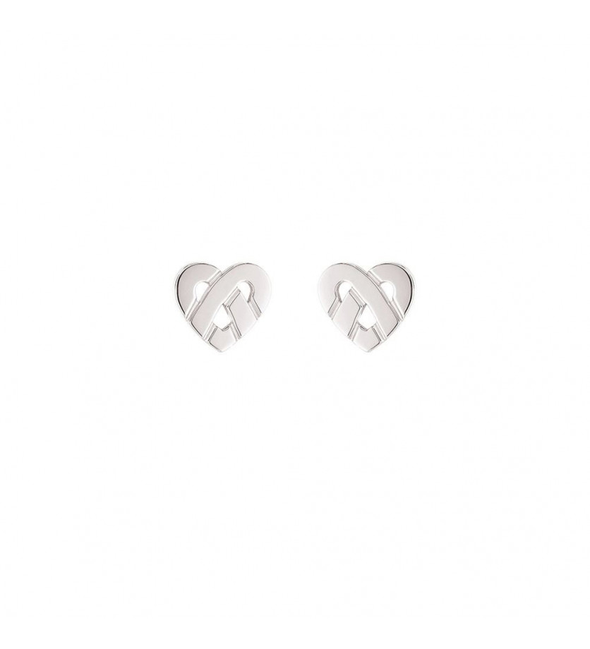 POIRAY Boucles d'oreille Coeur Entrelacé mini or blanc
