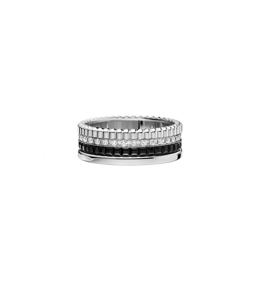 Bague Quatre Black Edition PM or blanc PVD noir diamants