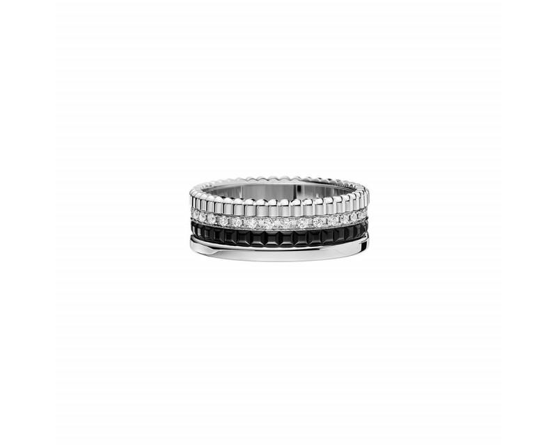 Bague Quatre Black Edition PM or blanc PVD noir diamants