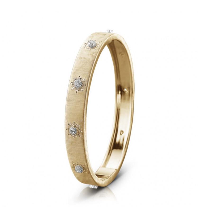 Bracelet Bangle Macri 8mm or jaune or gris diamants