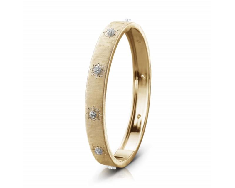 BUCCELLATI Bracelet Bangle Macri 8mm or jaune or gris diamants