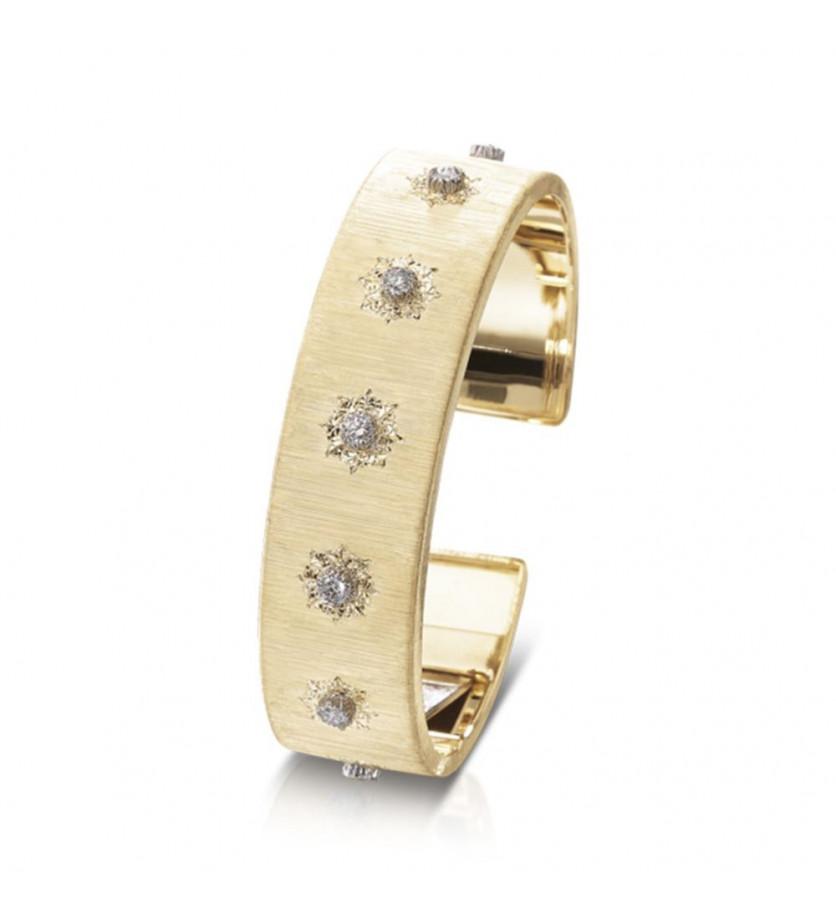 Bracelet manchette Macri or jaune or blanc diamants 15,5mm