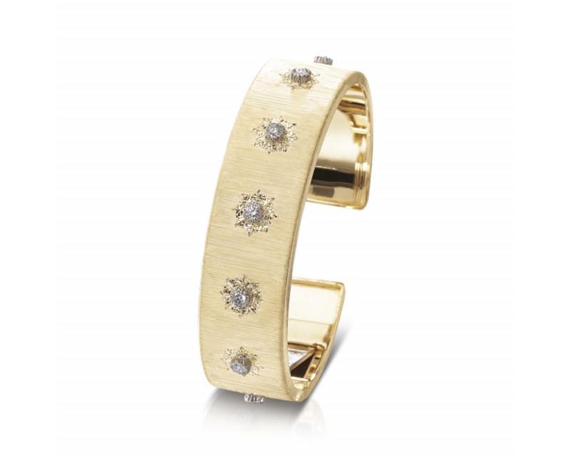 BUCCELLATI Bracelet manchette Macri or jaune or blanc diamants 15,5mm
