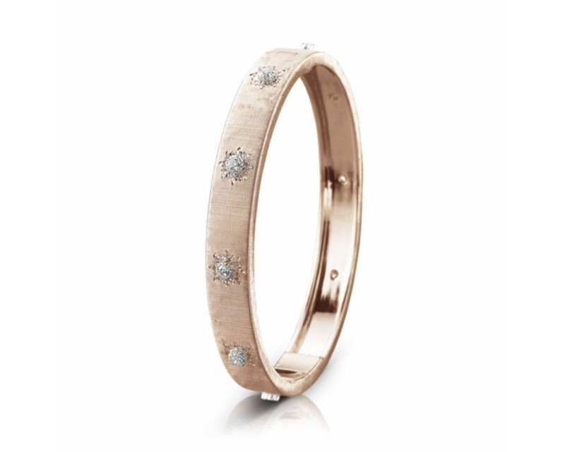 BUCCELLATI Bracelet bangle Macri 8mm or rose or gris diamants