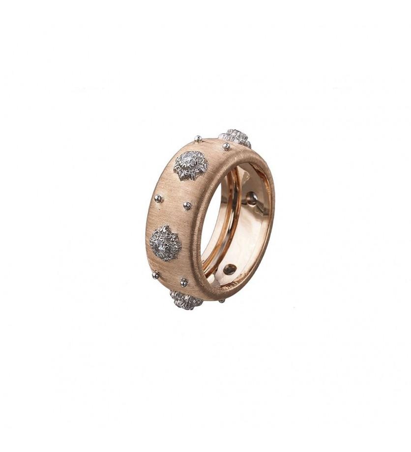 Bague Eternelle Macri Classica or rose et or blanc diamants