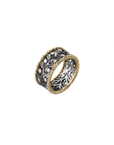 Bague Eternelle Ramage or jaune or gris diamants