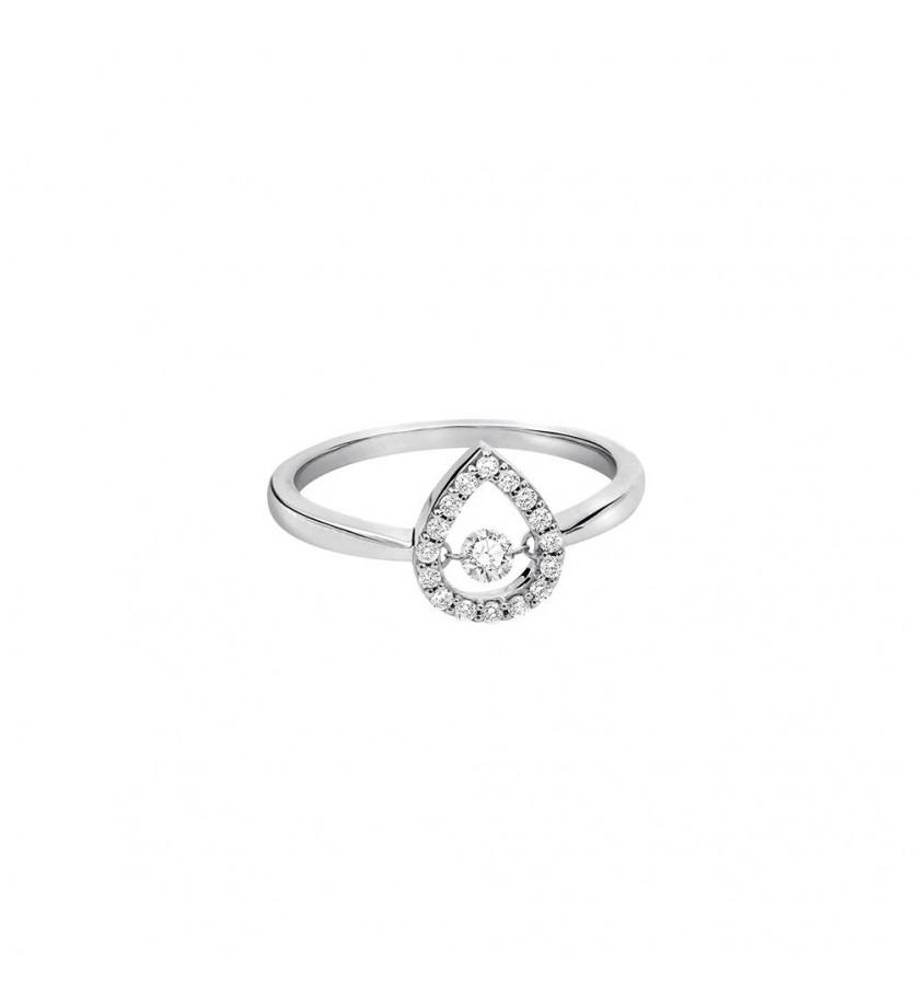 Bague or gris entourage diamants forme poire