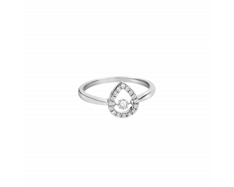 Bague or rose entourage diamants forme poire