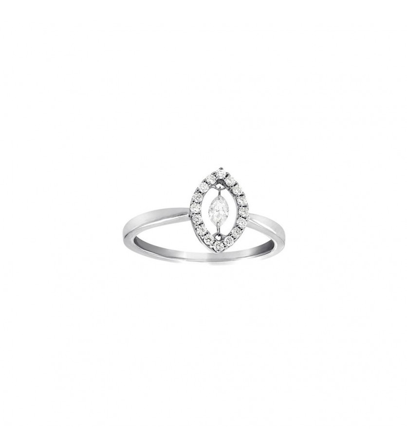 FROJO Bague or rose diamant entourage forme carré