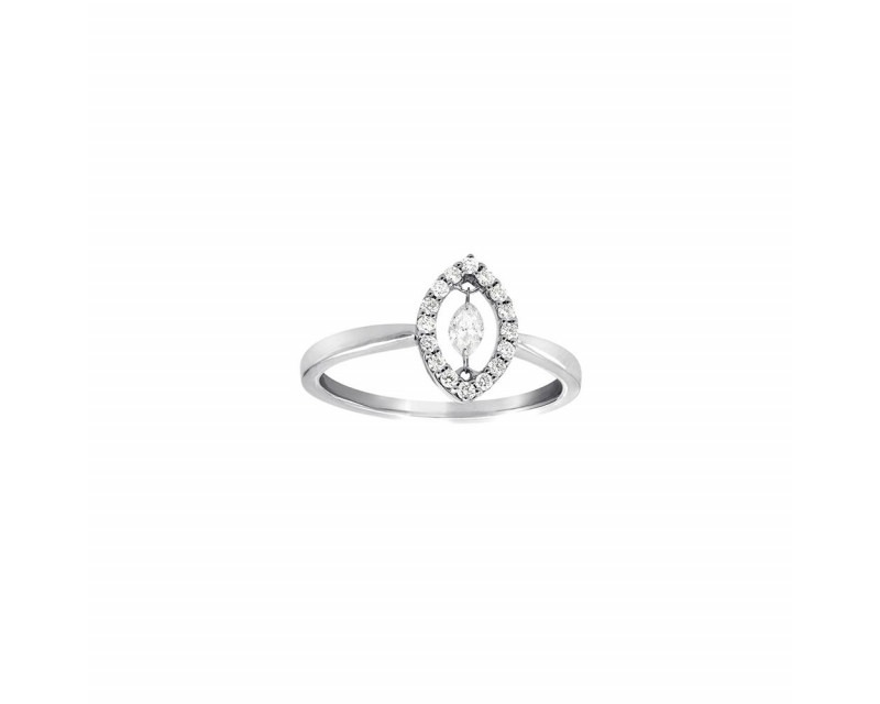 Bague or rose diamant entourage forme carré