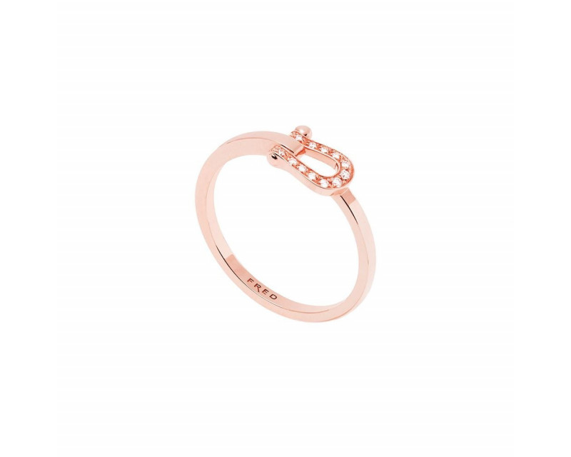 FRED Bague Force 10 ruban PM or rose full pavé diamants