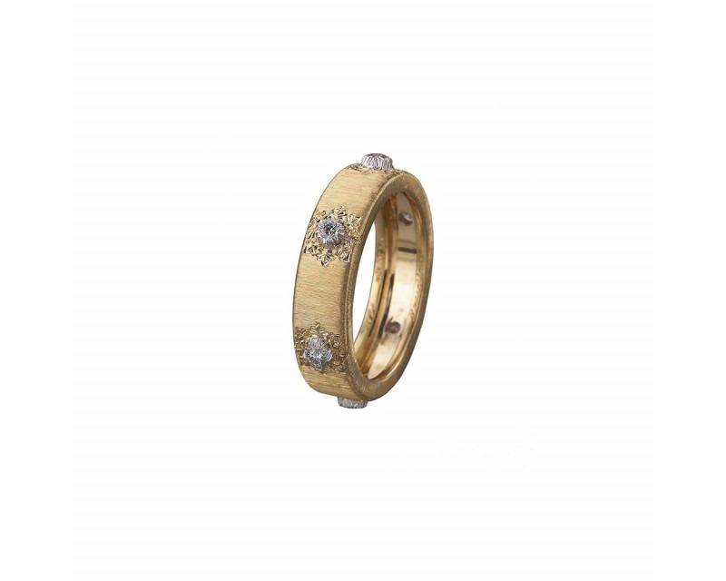 BUCCELLATI Bague Eternelle Macri or jaune or gris diamants 5,5mm