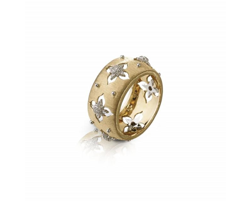 Bague Eternelle Macri Giglio or jaune et or blanc diamants