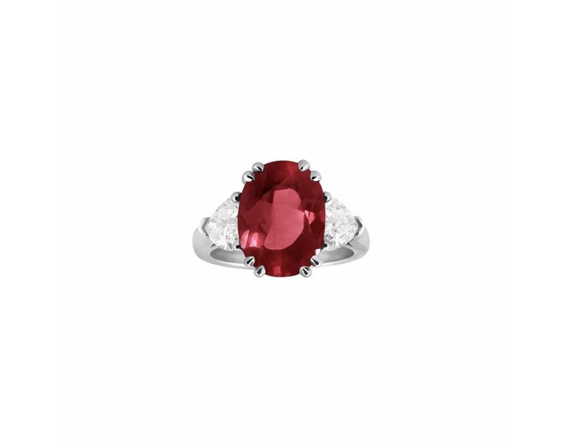 FROJO Bague or gris rubis 4,70ct certificat CGL14141 2 diamants coeur 1,50ct