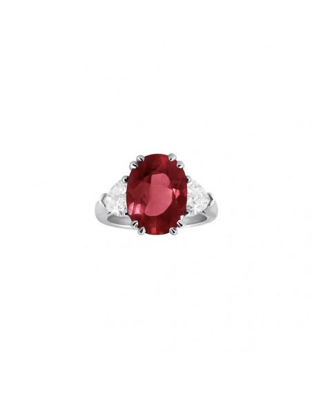 Bague or gris rubis 4,70ct  2 diamants coeur 1,50ct