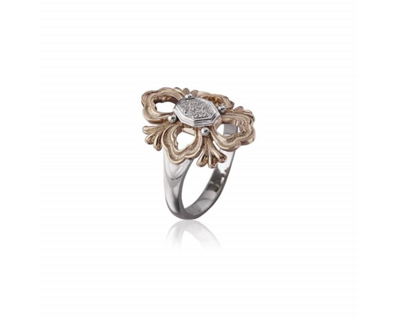 Bague Opera or rose or gris diamants