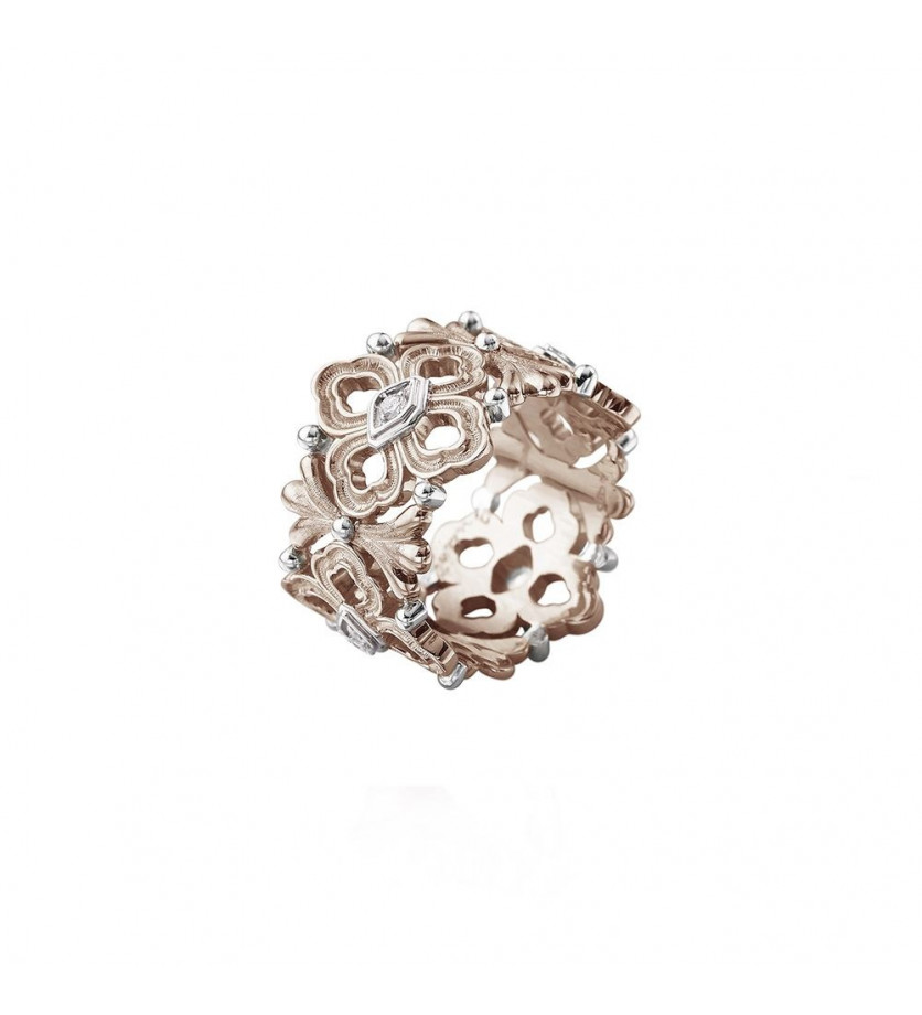 BUCCELLATI Bague Eternelle Opera or rose or gris diamants