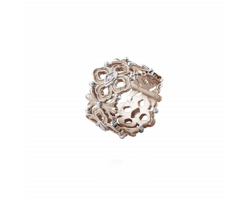 Bague Eternelle Opera or rose or gris diamants