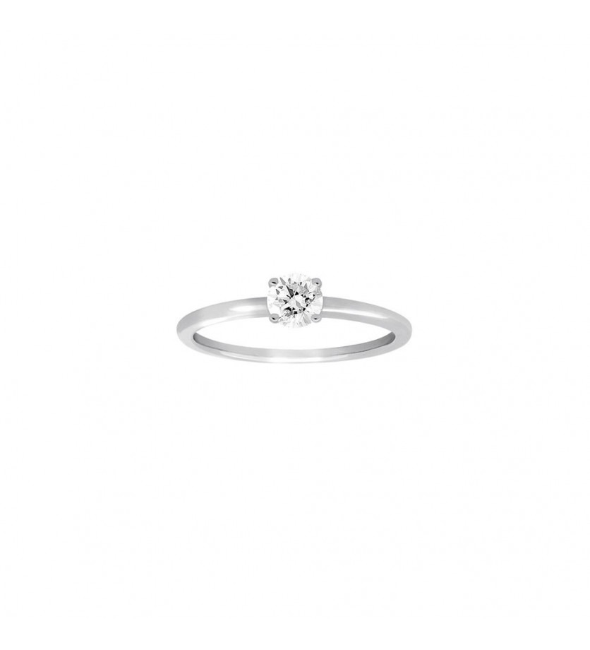 FROJO Bague soliatire 4 griffes or gris diamant 0,30ct ESI2