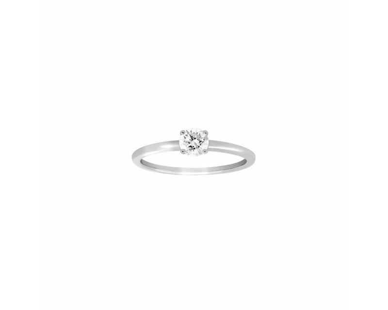 Bague soliatire 4 griffes or gris diamant 0,30ct ESI2