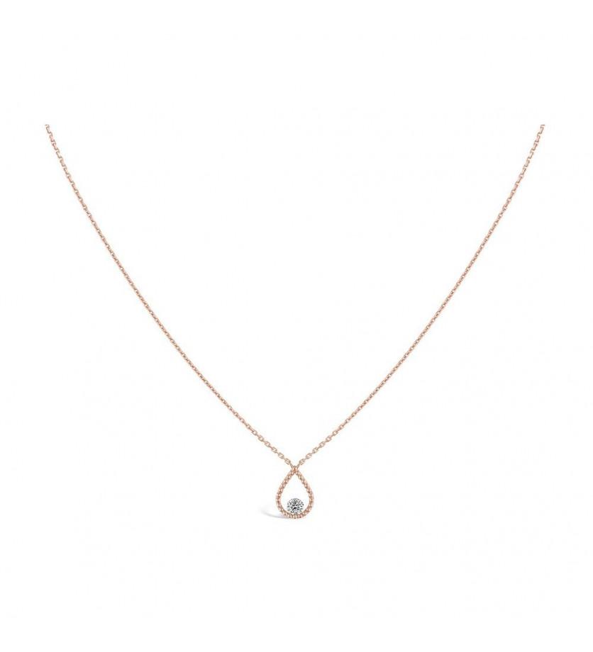 Collier Goutte Palline or rose diamant brillant 0.07 ct FSI1 sur chaîne en or rose