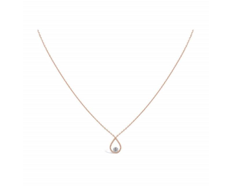 SARLANE Collier Palline or rose diamant brillant 0,7ct FSI1