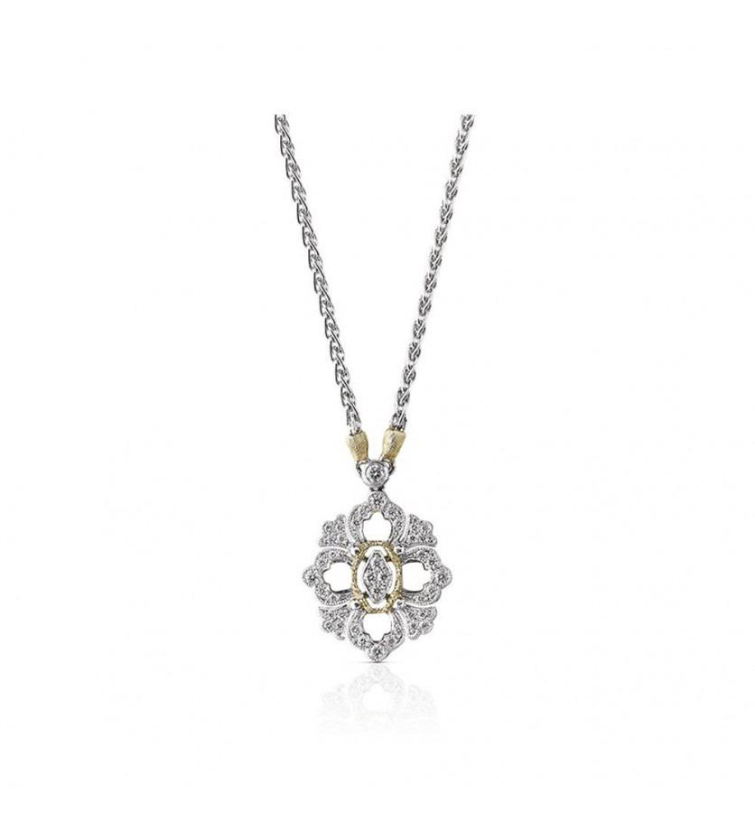 BUCCELLATI Pendentif Opéra PM or gris or jaune diamants