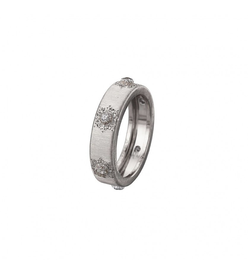 BUCCELLATI Bague Classica Eternelle or gris 5,5mm 6 diamants