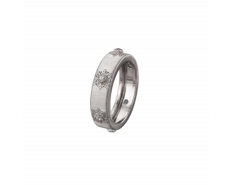 BUCCELLATI Bague Classica Eternelle or gris 5,5mm 6 diamants