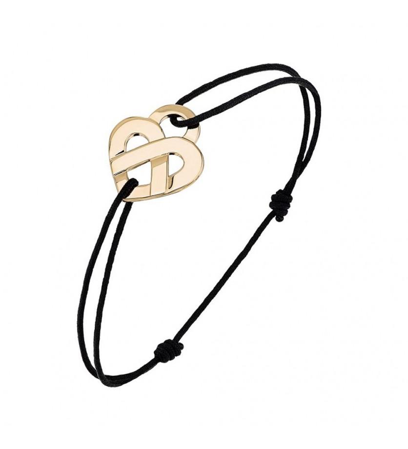 POIRAY Bracelet Coeur Entrelacé PM or jaune cordon noir