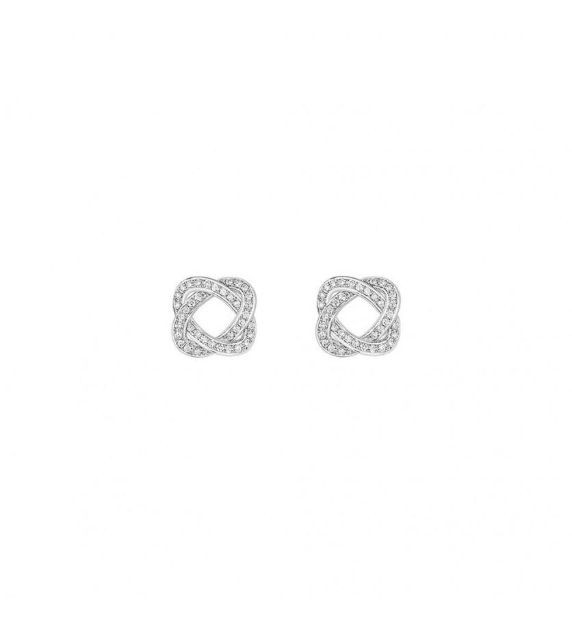Boucles d'oreille Tresse GM or blanc diamants