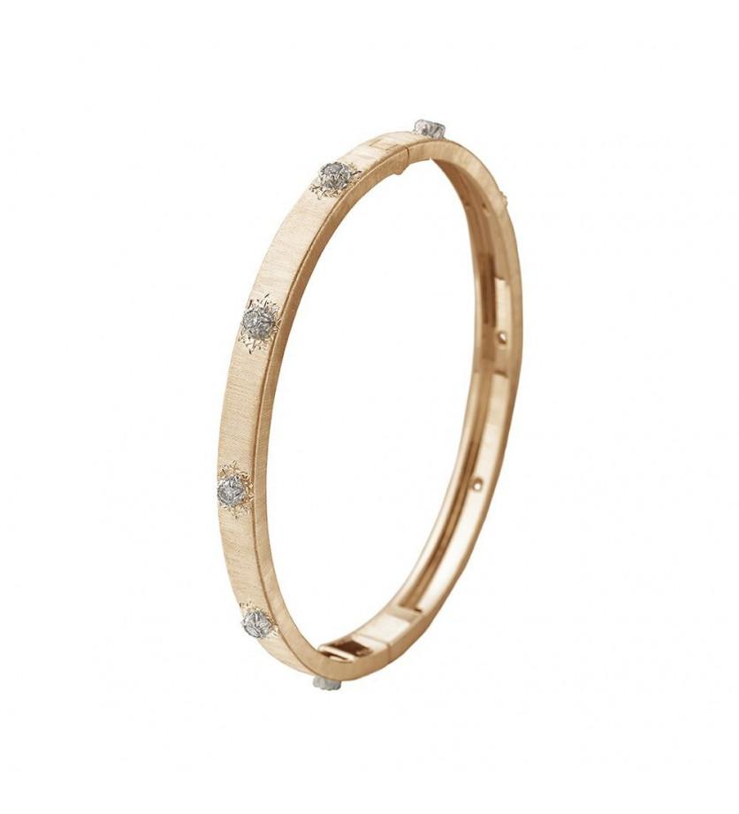 Bracelet Bangle Macri 5mm or jaune or gris diamants