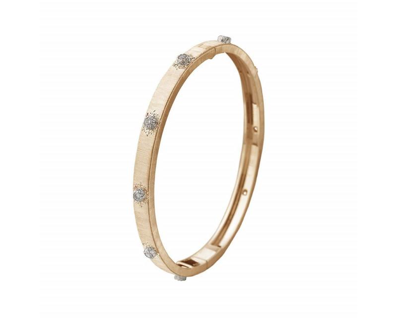 BUCCELLATI Bracelet Bangle Macri 5mm or jaune or gris diamants