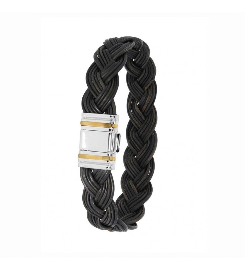 ALBANU Bracelet tressé poils de Buffle fermoir PVD noir et or gris