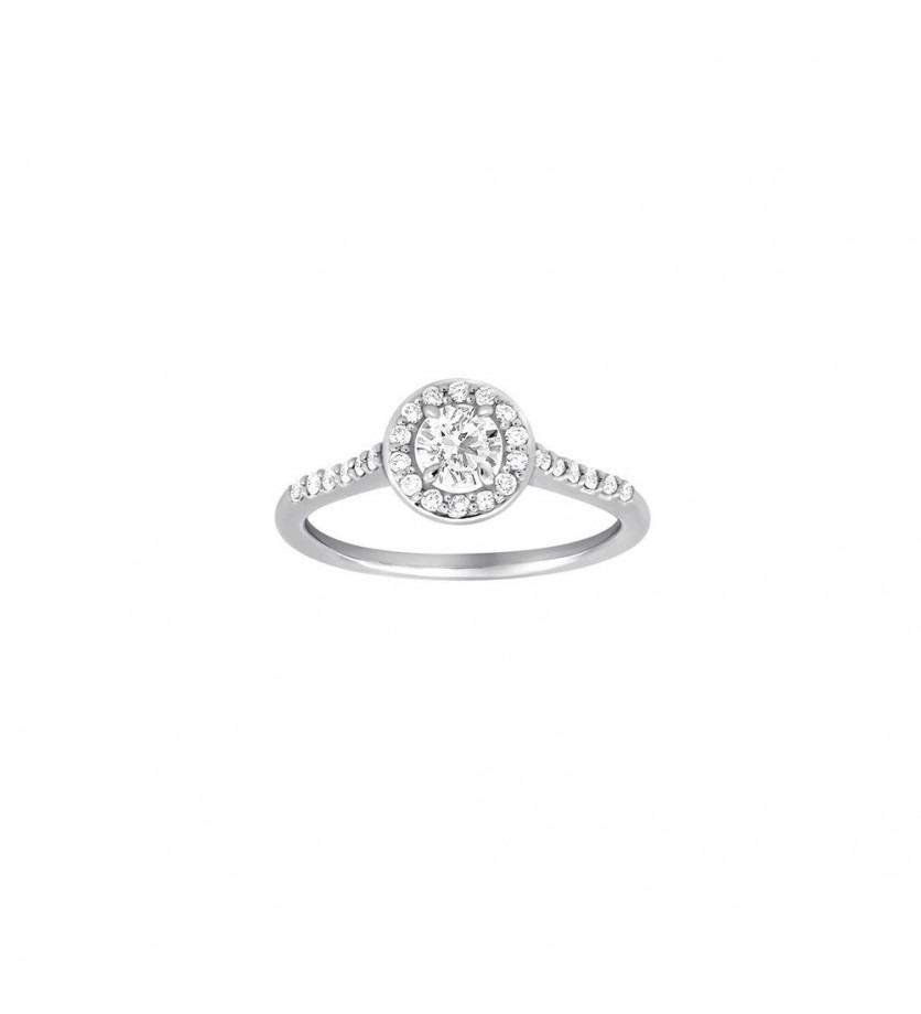 Bague Solitaire or gris diamant brillant 0,30ct entourage pavage 0,25ct GSI