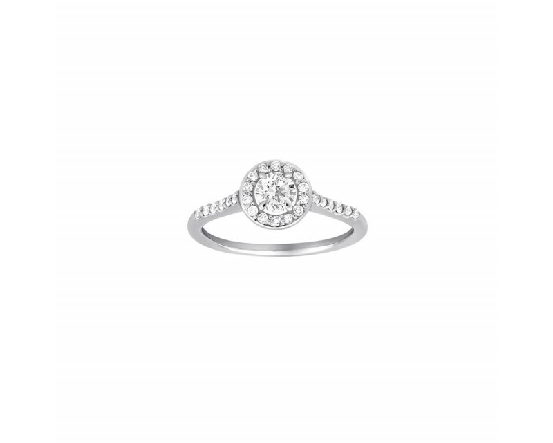 FROJO Bague Solitaire or gris diamant brillant 0,30ct entourage pavage 0,25ct GSI