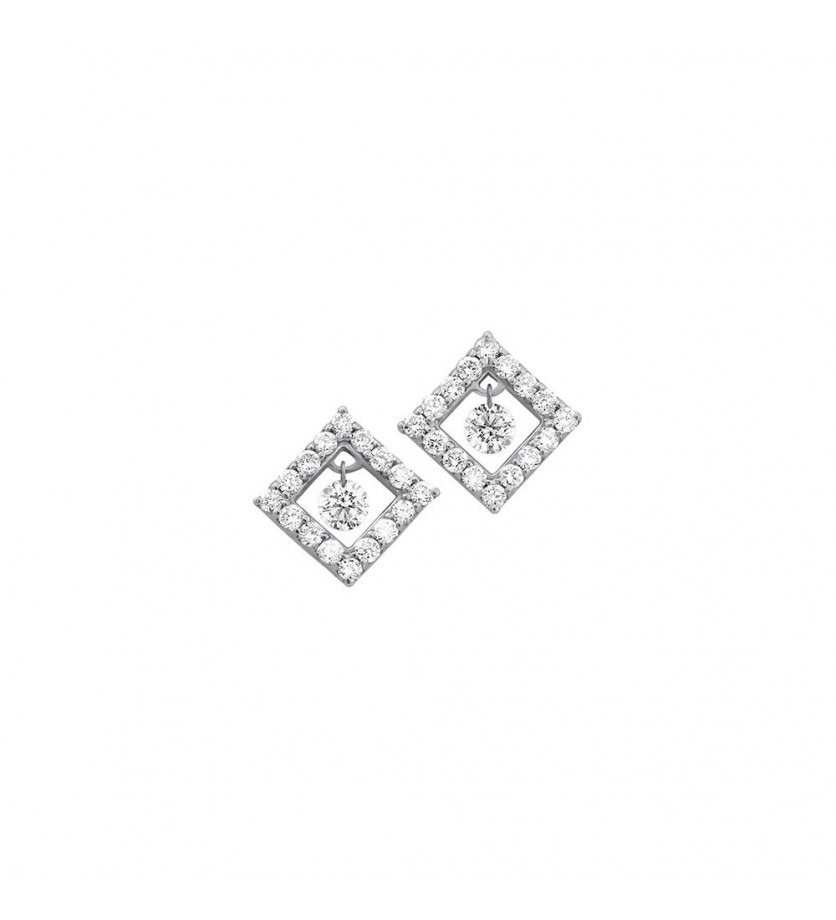 Boucles d'oreille un diamant mobile entourage forme carrée pavé diamants or gris