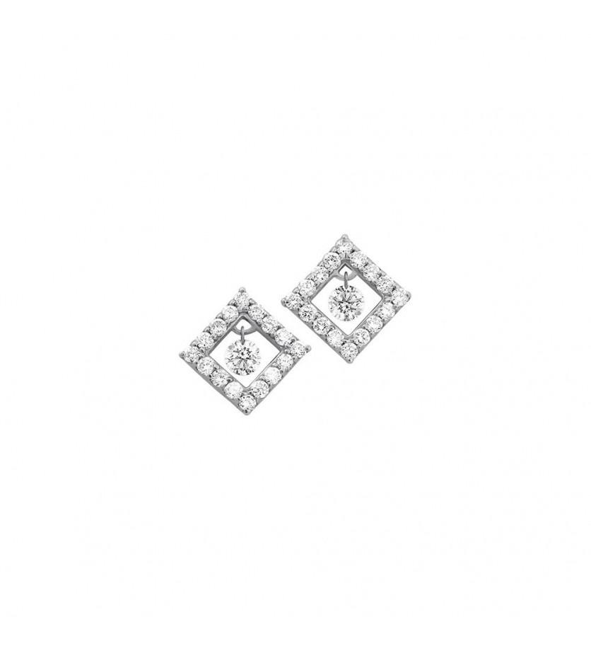 FROJO Boucles d'oreille un diamant mobile entourage forme carrée pavé diamants or gris
