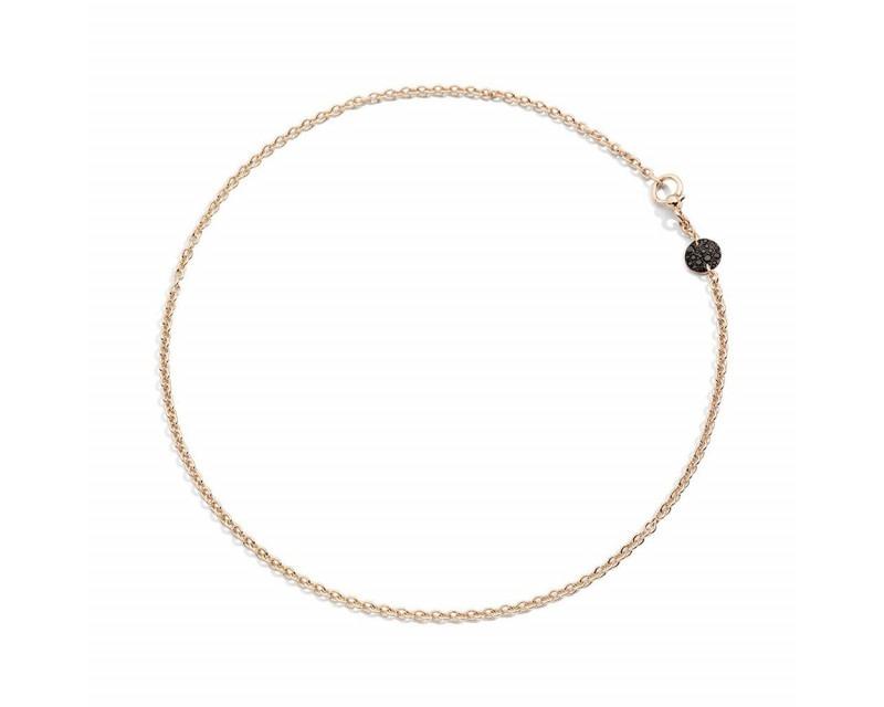 Collier Sabbia Mini or rose pastille diamants noirs 42cm