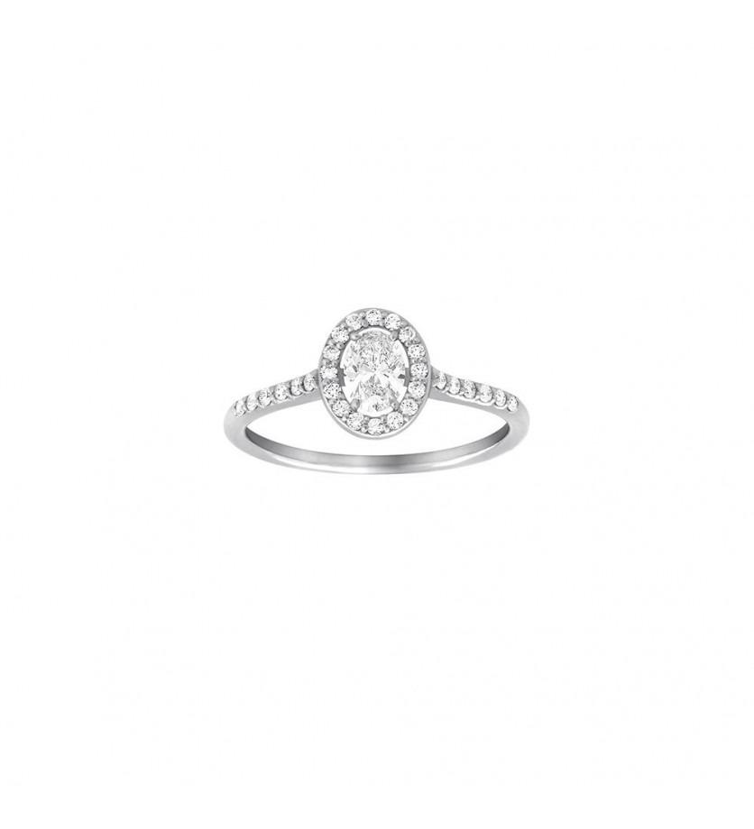 Bague Solitaire or gris diamant ovale 0,30ct + 0,25ct GSI