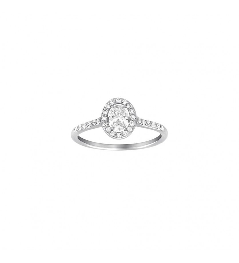 Bague Solitaire or gris diamant ovale 0,30ct + 0,25ct GSI