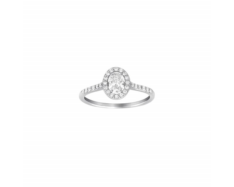 FROJO Bague Solitaire or gris diamant ovale 0,30ct + 0,25ct GSI