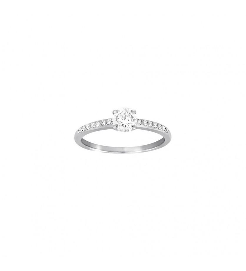 Bague Solitaire or blanc diamant monture pavée diamants